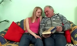 Barely legal harlot likes elderly guy adjacent to than her coevals