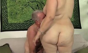 BBW Buxom Bella rides a fat cock.