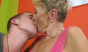 Creamed granny loves riding stiff young cock