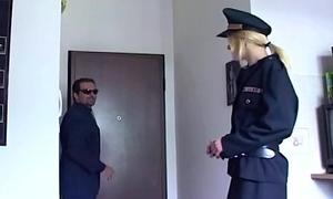 Blonde in uniform fucking in coal-black stockings