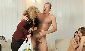 Good-looking infancy taste hard cock of mom\'s aged boyfriend