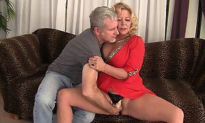 Curvy blonde mature near natural boobs gets rewarded near a good have sexual intercourse
